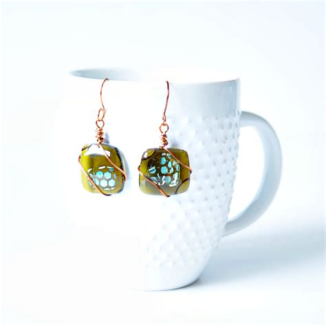 beginners glass fusing recycled glass dichroic earrings