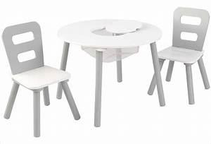 Chaise Et Table Enfant : table ronde en bois pour enfant et 2 chaises grises kidkraft 26166 ~ Teatrodelosmanantiales.com Idées de Décoration