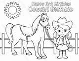 Cowgirl Coloring Horse Birthday Printable Pages Party Horses Pdf Personalized Cowboy Favor Print Activity Etsy Childrens Colouring Colors  Getcolorings sketch template