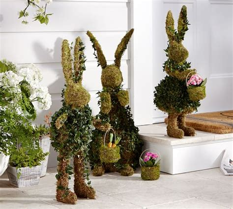 Live Ivy Bunny With Basket Topiaries  Pottery Barn