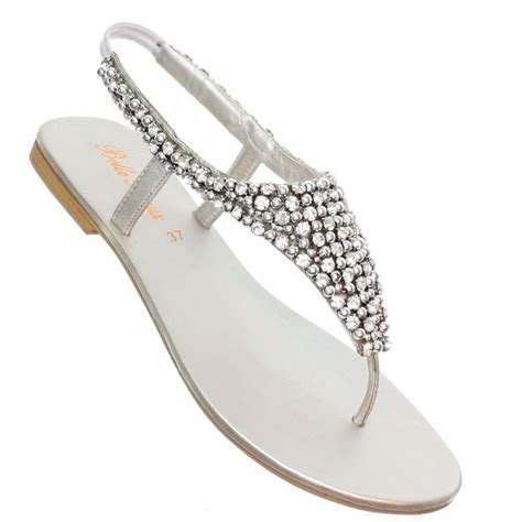 womens flat diamante sparkly toe post silver party wedding