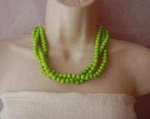 Yellow Statement Necklace Yellow Beaded Necklace Chunky Bold