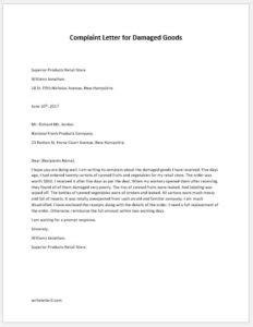 Complaint Letter for Damaged Goods | writeletter2.com