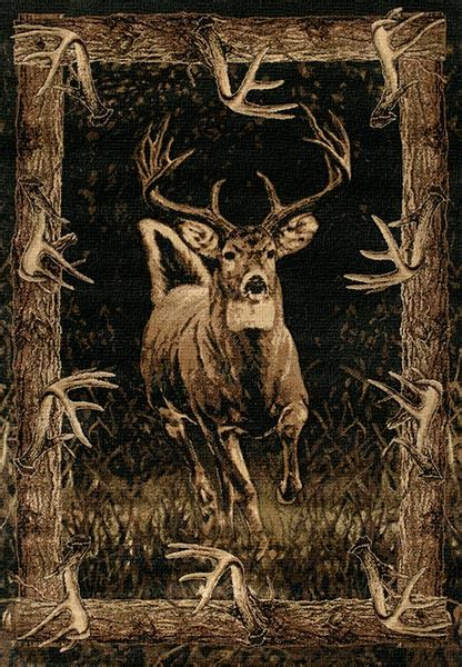 whitetail border cabin area rug cabin place