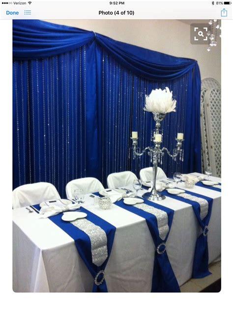 Table runner decor Royal blue wedding decorations Blue