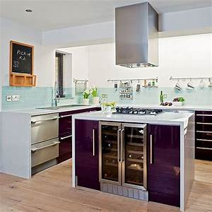 purple kitchen designs pictures and inspiration With kitchen colors with white cabinets with lavender fields wall art