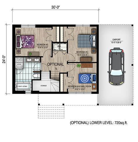 1 Bedrm, 720 Sq Ft Bungalow House Plan #158 1319