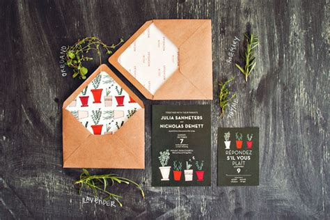 garden nature themed fresh wedding invitations