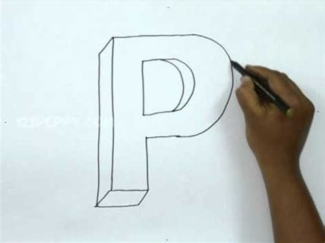 how to draw 3d letters p uppercase p and lowercase p in how to draw p in 3d 71177