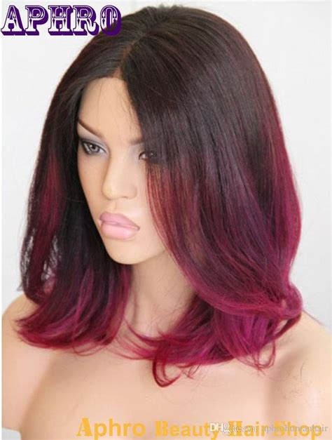 Blackpurple Red Ombre Short Haircut Brazilian Hair