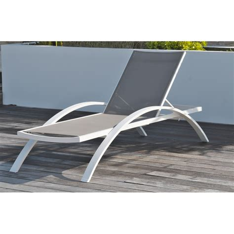 chaise longue pvc blanc awesome salon de jardin metal gris pictures amazing