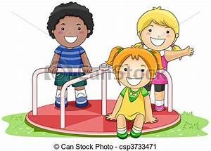 Clipart of Merry Go Round - Children on Merry Go Round in ...