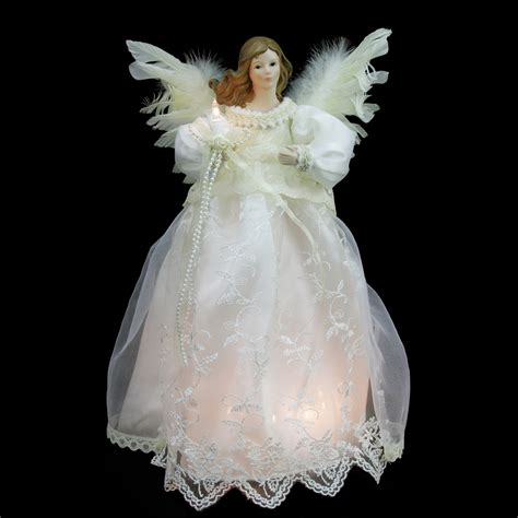 lighted christmas angel tree topper 14 quot lighted ivory tree topper clear lights ebay