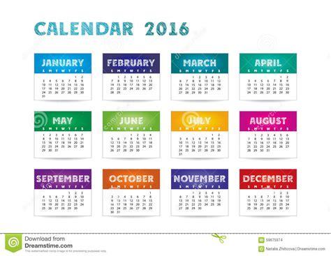 calendar colors color calendar 2016 stock vector illustration of time