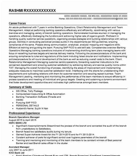 Sle Resume For Operations Manager by Branch Operations Manager Objectives Resume Objective