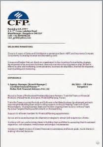 financial planning resume sles certified financial planner resume