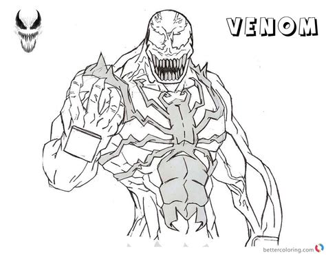 venom coloring pages lineart drawing  noname