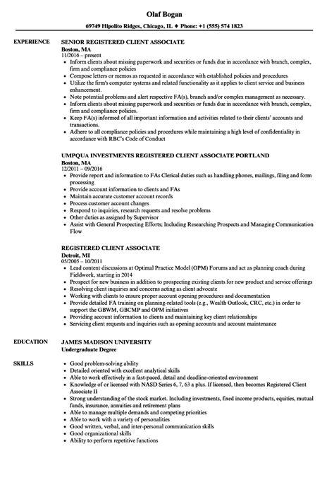 Registered Resume by Client Associate Resume Resume Ideas