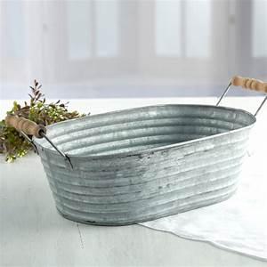 Galvanized, Tin, Wash, Tub, -, Decorative, Accents, -, Primitive, Decor