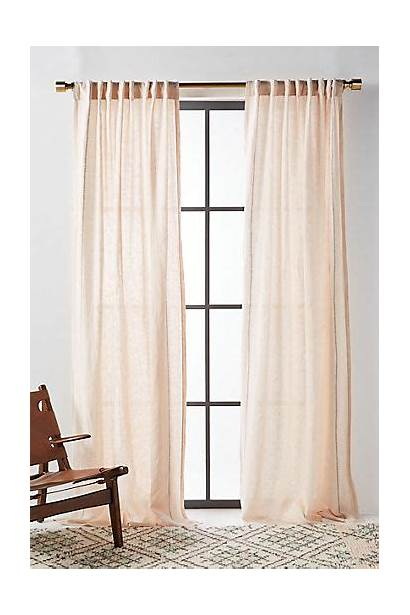 Curtains Linen Anthropologie Neutral Curtain Simple Stitched