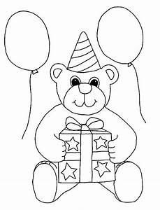 happy birthday teddy bear coloring page download free