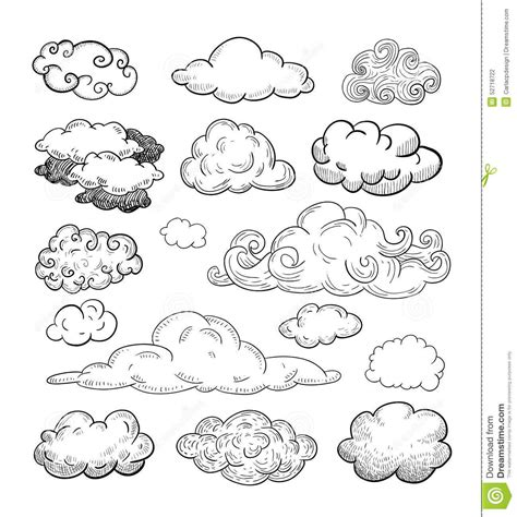 doodle collection  hand drawn vector clouds stock