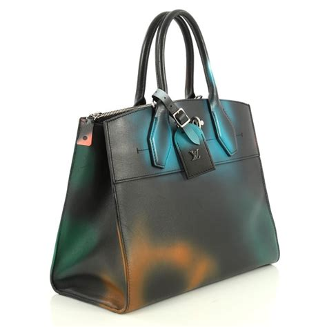 louis vuitton city steamer handbag hologram print leather mm  stdibs