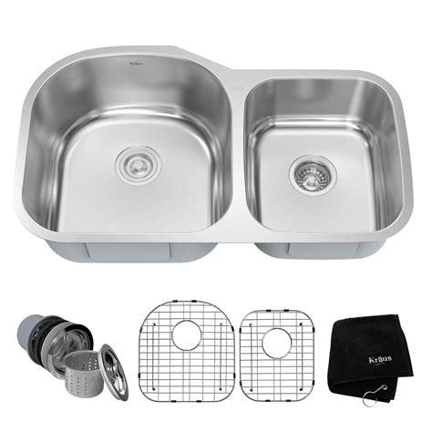 34 stainless steel kitchen sink kraus undermount stainless steel 34 in 60 40 double basin
