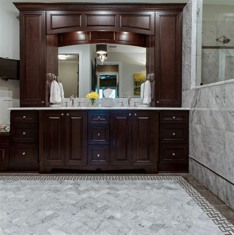 transitional bathroom cherry cabinets marble