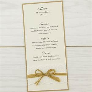 rustic lace menu pure invitation wedding invites With lace wedding invitations cheap uk