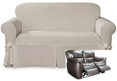 Dual Reclining Loveseat Slipcover by Dual Reclining Loveseat Slipcover Farmhouse Twill Taupe