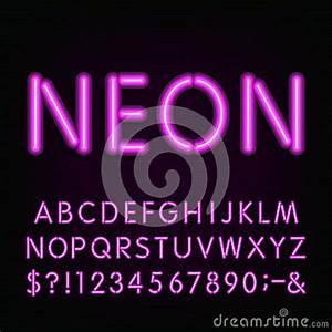 Neon Light Alphabet Font Stock Vector Image