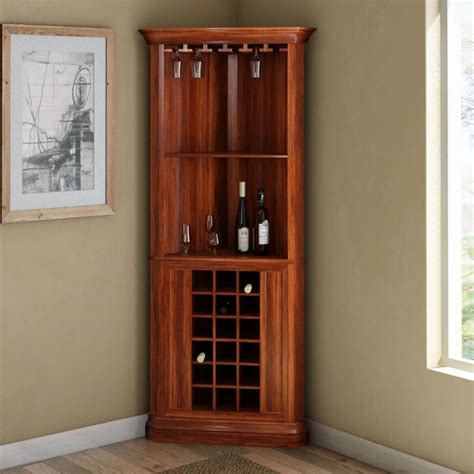 Corner Bar Cabinets by Louis Rustic Solid Wood Corner Bar Cabinet