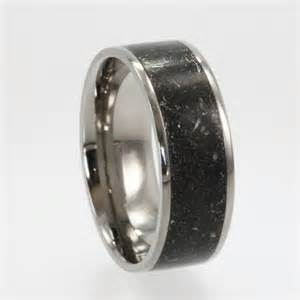 meteorite wedding band dust inlaid in a titanium wedding band meteorite composition ring jewelrybyjohan