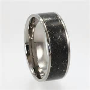meteorite mens wedding ring meteorite ring dust titanium ring alternative wedding band meteorite wedding band