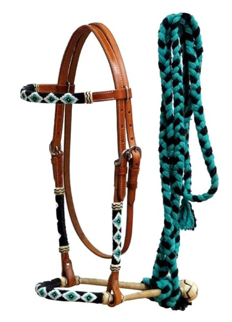bosal hackamore bridle western reins horse headstall beaded rawhide bitless mecate teal core bridles headstalls leather cotton braided overlays tack