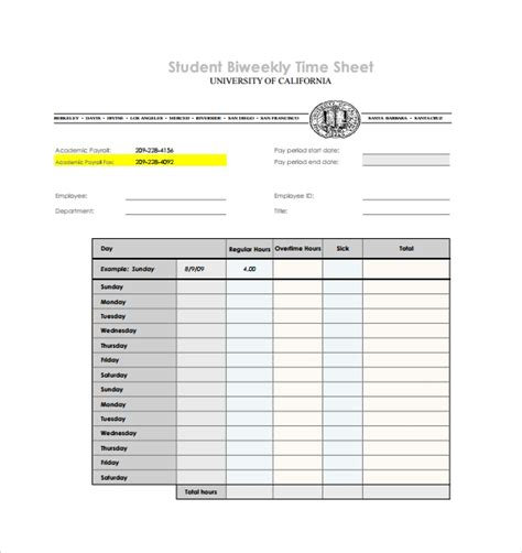 sample biweekly timesheet templates   sample