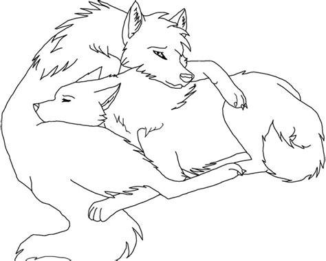 Wolf Cuddle Lineart (paint Friendly) By Rikkuwolfsbane On