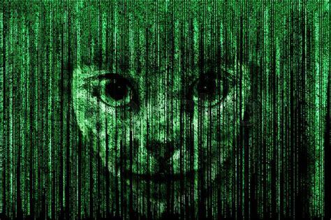 alien face  green matrix background stock photo