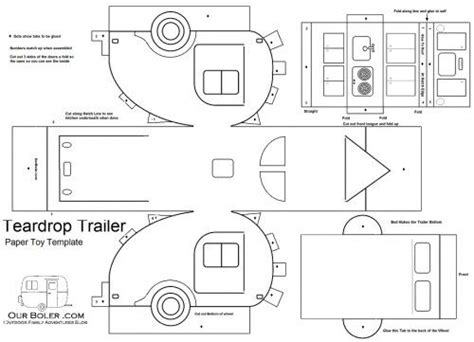cardboard house to color teardrop paper template coloring page trailers