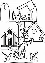 Birdhouse Coloring Pages Colouring Bird Google Country Houses sketch template