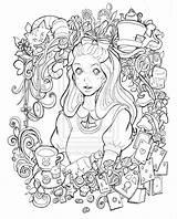 Alice Wonderland Coloring Deviantart Adult Lineart Namtia Disney Mandala Adults Colouring Mad Hatter Printable Depp Johnny Drawing Pays Trippy Hula sketch template