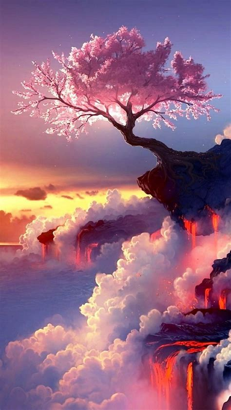 Beautiful Tree Phone Wallpaper 人気207位 崖に咲く一本の桜 iphone7 スマホ壁紙 待受画像ギャラリー
