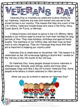 veterans day reading passage by the math spot teachers