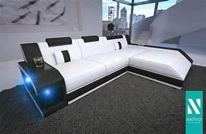 Couch Mit Beleuchtung : wohnlandschaft ledermix sofa matis mini mit led beleuchtung nativo ecksofa sofa kaufen bei ~ Frokenaadalensverden.com Haus und Dekorationen