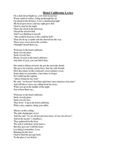 hotel california lyrics