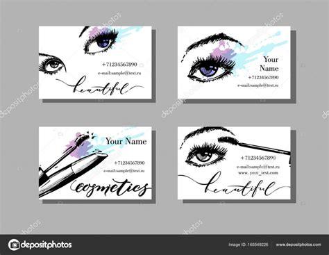 메이크업 아티스트 명함입니다. 아름 다운 여성의 눈과 마스카라 메이크업 항목 패턴-벡터 템플릿. 패션 및 Beauty Services Business Cards Plain Blank Salon Vector Free Card Design Black And Gold Kmart Hair & Box Of
