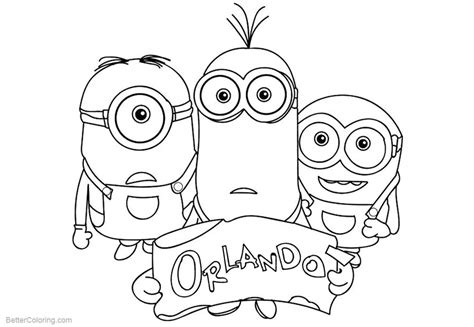 minion color pages minion coloring pages take us to orlando free printable