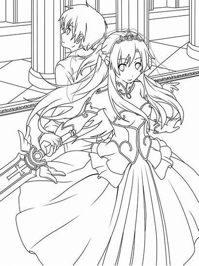 Coloring Sword Kirito Asuna Deviantart Drawing Lineart