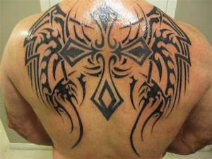 Dashing Back Tribal Cross Tattoos Pictures : Fashion Gallery